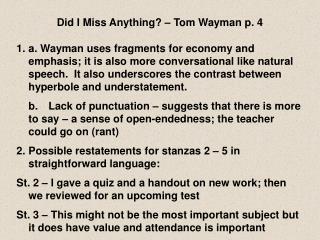 Did I Miss Anything   Tom Wayman p. 4