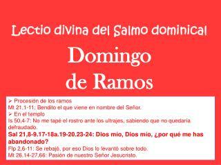 Lectio divina del Salmo dominical Domingo  de Ramos