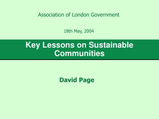 Key Lessons on Sustainable Communities