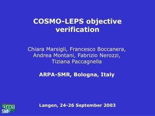 COSMO-LEPS objective verification