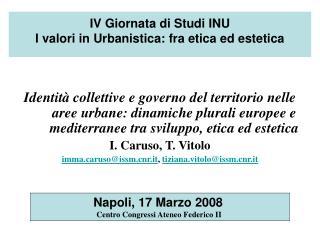 IV Giornata di Studi INU  I valori in Urbanistica: fra etica ed estetica
