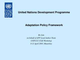 United Nations Development Programme Adaptation Policy Framework