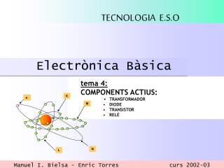 tema 4: COMPONENTS ACTIUS:  ▪ TRANSFORMADOR DIODE TRANSISTOR RELÉ