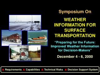 Symposium On WEATHER INFORMATION FOR SURFACE TRANSPORTATION  Preparing for the Future: Improved Weather Information for