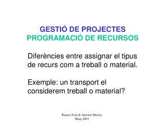 GESTIÓ DE PROJECTES PROGRAMACIÓ DE RECURSOS