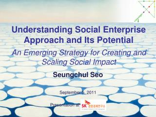 Seungchul Seo September 5, 2011 Presentation at  SK 경영경제연구소