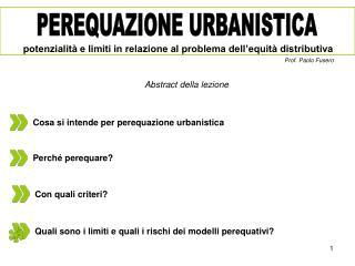Cosa si intende per perequazione urbanistica