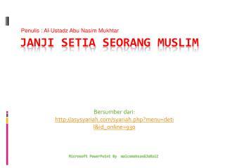 Janji Setia Seorang  Muslim