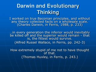 Darwin and Evolutionary Thinking