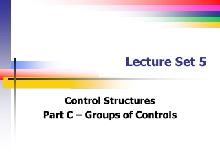 Lecture Set 5