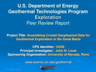 U.S. Department of Energy Geothermal Technologies Program Exploration  Peer Review Report