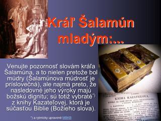 Kráľ Šalamún  mladým:...