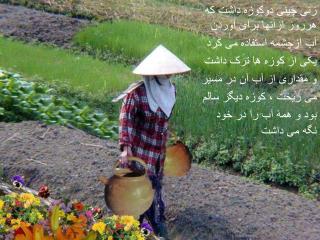 زنی چینی دوکوزه داشت که هرروز ازآنها برای آوردن  آب ازچشمه استفاده می کرد یکی از کوزه ها ترک داشت