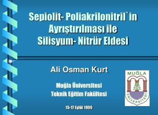 Sepiolit- Poliakrilonitril`in Ayrıştırılması ile  Silisyum- Nitrür Eldesi