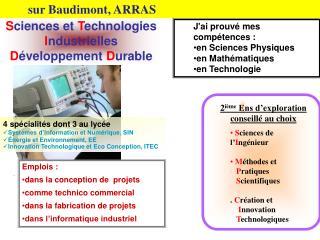 S ciences et  T echnologies  I ndustrielles  D éveloppement  D urable