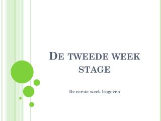 De tweede week stage