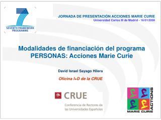 Modalidades de financiación del programa PERSONAS: Acciones Marie Curie