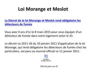 Loi Morange et Meslot