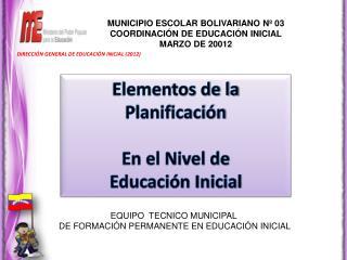 Elementos de la Planificación En el Nivel de Educación Inicial