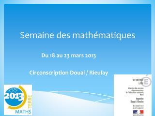 Semaine des mathématiques