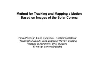 Method for Tracking  and Mapping  a  M otion  B ased on  I mages of the Solar Corona