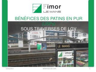 B�N�FICES DES PATINS EN PUR (USPs) SOUS TRAVERSES DE LGV
