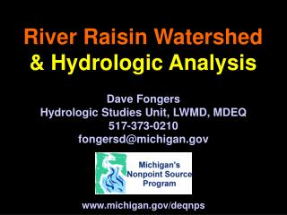 River Raisin Watershed   Hydrologic Analysis
