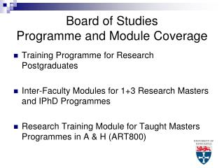 Board of Studies Programme and Module Coverage