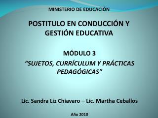 MINISTERIO DE EDUCACI N  POSTITULO EN CONDUCCI N Y GESTI N EDUCATIVA