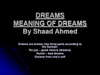 DREAMS MEANING OF DREAMS By Shaad Ahmed