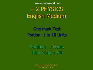 padasalai  + 2 PHYSICS English Medium