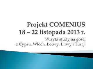 Projekt COMENIUS 18 – 22 listopada 2013 r.