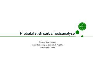 Probabilistisk sårbarhedsanalyse Thomas Mejer Hansen Invers Modellering og Geostatistik Projektet