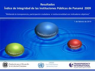 Resultados  Índice de Integridad de las Instituciones Públicas de Panamá  2009