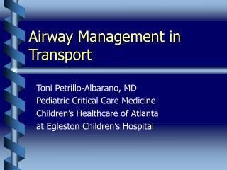 Airway Management in Transport