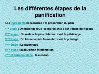 Les différentes étapes de la panification