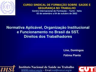 Normativa Aplicável, Organização Institucional e Funcionamento no Brasil da SST.