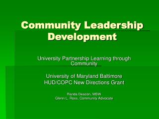 Community Leadership Development