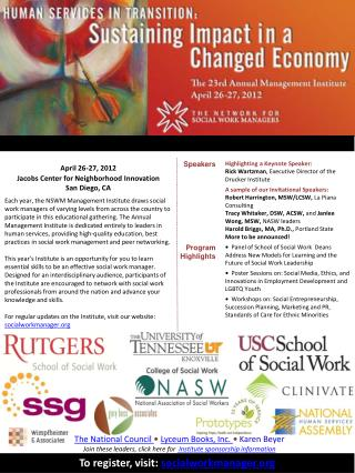 April 26-27, 2012 Jacobs Center for Neighborhood Innovation  San Diego, CA