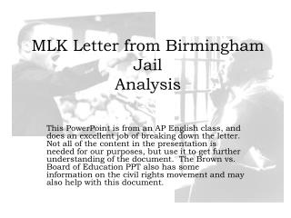MLK Letter from Birmingham Jail  Analysis