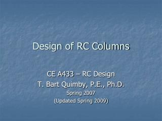 Design of RC Columns