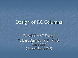Design of RC Columns