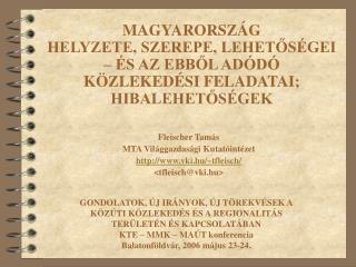 Fleischer Tamás MTA Világgazdasági Kutatóintézet vki.hu/~tfleisch/ <tfleisch@vki.hu>