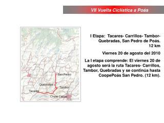 I Etapa:  Tacares- Carrillos- Tambor- Quebradas, San Pedro de Poás.  12 km