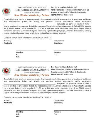 De : Docente Alirio Beltrán HyT Para : Padres de Familia/Acudientes Grado 11