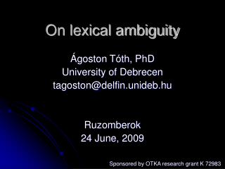 On lexical ambiguity