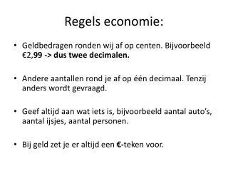 Regels economie: