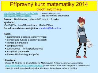 MF seminář 2010/2011 - úvod