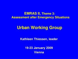 EMRAS II,  Theme 3:   Assessment after Emergency Situations Urban Working Group