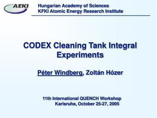 CODEX Cleaning Tank Integral Experiments Péter Windberg , Zoltán Hózer